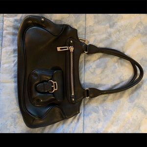 Cole Haan blk leather bag silver zippers/hardware
